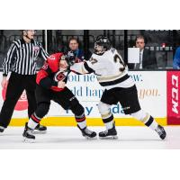 Defenseman Robbie Hall (right) with the Wheeling Nailers punches a member of the Cincinnati Cyclones