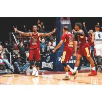 Sheldon Mac reacts after his game-winning basket for the Canton Charge