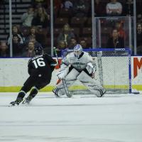 Brandon Saigeon of the Utah Grizzlies in the shootout vs. the Florida Everblades