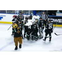 Utah Grizzlies huddle up after a win