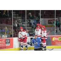 Allen Americans react after a goal against the Idaho Steelheads