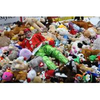 Michal Kvasnica of the Vancouver Giants relaxes in a sea of teddy bears