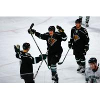 Utah Grizzlies celebrate a goal against the Florida Everblades