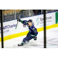 Jake Elmer of the Maine Mariners after a goal
