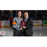 WHL Referee Adam Byblow receives WHL Milestone Award