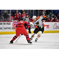 Lehigh Valley Phantoms right wing Nicolas Aube-Kubel (right) vs. the Hartford Wolf Pack