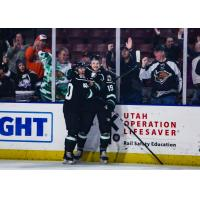 Yuri Terao and Travis Barron of the Utah Grizzlies after Barron's goal