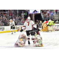 Paul Bittner of the Cleveland Monsters collects teddy bears