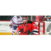 Binghamton Devils goaltender Louis Domingue vs. the Rochester Americans