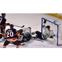 Patrick Bajkov of the Greenville Swamp Rabbits scores to send the game to overtime