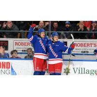 Kitchener Rangers celebrate against the Niagara IceDogs
