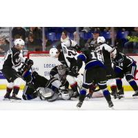 Vancouver Giants defenceman Tanner Brown battles near the Victoria Royals net