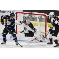 Vancouver Giants goaltender David Tendeck makes a stop against the Victoria Royals