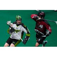 Saskatchewan Rush forward Robert Church (left) vs. the Colorado Mammoth