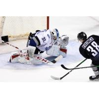 Vancouver Giants right wing Michal Kvasnica shoots against the Victoria Royals