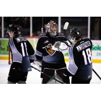 Cole Shepard, David Tendeck and Jackson Shepard of the Vancouver Giants