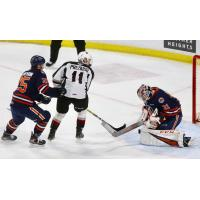 Vancouver Giants right wing Tyler Presiuso takes a shot against the Kamloops Blazers