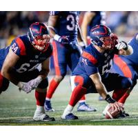 Sean Jamieson (left) and Kristian Matte on the Montreal Alouettes offensive line
