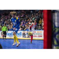 Leo Gibson of the Kansas City Comets launches a shot vs. the Rochester Lancers