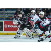 Kelowna Rockets defend against the Vancouver Giants