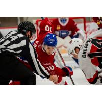 Filip Chlapik of the Belleville Senators (right) faces off with the Laval Rocket