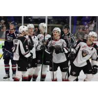 Vancouver Giants huddle up after a goal against the Tri-City Americans