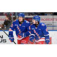 Kitchener Rangers react after a goal