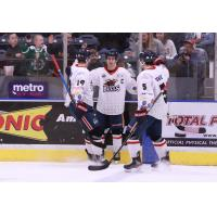Amarillo Bulls exchange high fives after a goal