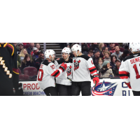 Binghamton Devils celebrate a goal against the Cleveland Monsters