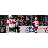 Binghamton Devils right wing Marian Studenic (right) and defenseman Julian Melchiori vs. the Toronto Marlies