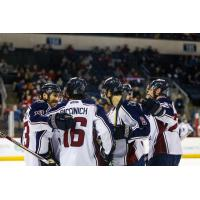 Tulsa Oilers celebrate a goal against the Allen Americans