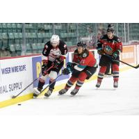 Kelowna Rockets Jake Lee (middle) and Kyle Topping (right) vs. the Prince George Cougars