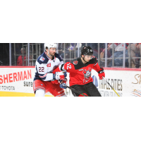 Binghamton Devils right wing Nick Merkley (right) vs. the Hartford Wolf Pack