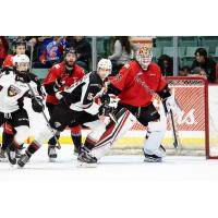 Vancouver Giants centre Holden Katzalay in front of the Prince George Cougars' net