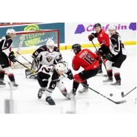 Vancouver Giants goaltender Drew Sim and his defence vs. the Prince George Cougars