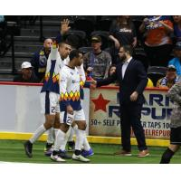 Tacoma Stars coach Adam Becker congratulates Mike Ramos on his second quarter goal during Tacoma's 6-2 loss in San Diego