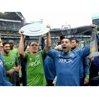 Seattle Sounders FC celebrates after defeating the LA Galaxy to claim the 2014 Supporters' Shield