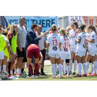 Washington Spirit coach Richie Burke instructs the club