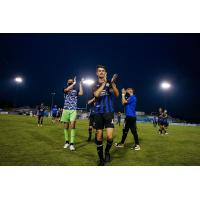 Colorado Springs Switchbacks FC walk off the pitch after tying El Paso Locomotive FC
