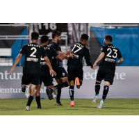 Colorado Springs Switchbacks FC celebrate George Lebese's game-tying goal