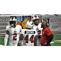 Jacksonville Sharks Head Coach James Fuller talks to the team