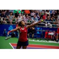 Naomi Osaka with the Washington Kastles at the GW Smith Center in 2018