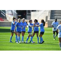 Chicago Red Stars celebrate a goal against Sky Blue FC