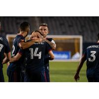 Chicago Fire FC celebrates a goal against the Houston Dynamo