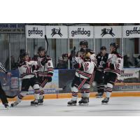 Aberdeen Wings celebrate a goal in the season opener