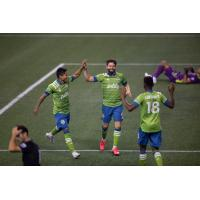 Seattle Sounders FC celebrates one of seven goals vs. the San Jose Earthquakes