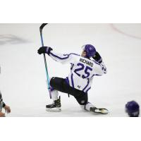 Guillaume Richard of the Tri-City Storm celebrates his overtime goal against the Omaha Lancers