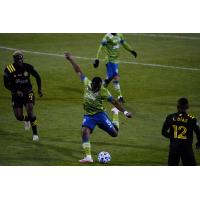Seattle Sounders FC defender Nouhou vs. Columbus Crew SC in the 2020 MLS Cup Final