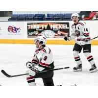 Odessa Jackalopes forwards Lucas Coon (9) and Fletcher Anderson (14) react after a Coon goal