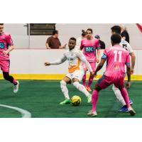 The St. Louis Ambush defense closes in on Ian Bennett of the Florida Tropics
